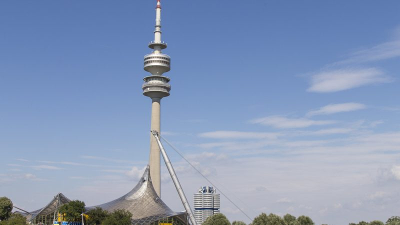 Bright blue sky on a sunny day in Olympiapark in Munich, Germany. Famous landmark